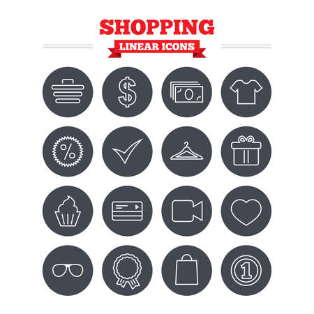 shirt hanger: Shopping linear icons set. Shopping cart, dollar currency and cash money. Shirt clothes, gift box and hanger. Credit or debit card. Thin outline signs. Flat circle vector