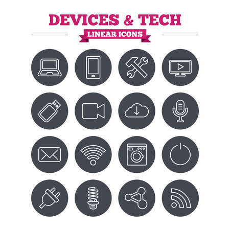 Devices and technologies linear icons set. Notebook, smartphone and wi-fi symbols. Usb flash, video camera, microphone thin outline signs. Washing machine, fluorescent lamp and electric plug. Flat circle vector Vector