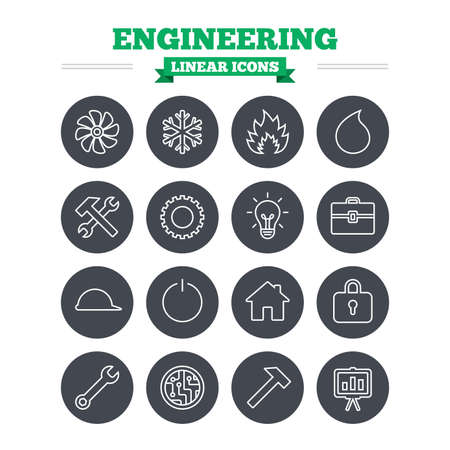 Engineering linear icons set. Ventilation, heat and air conditioning symbols. Water supply, repair service and circuit board thin outline signs. Lamp, house and locker. Flat circle vector