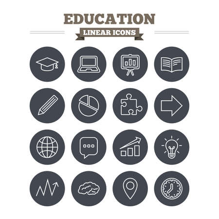 flat cap: Education linear icons set. Graduation cap, pencil and book symbols. Notebook, presentation and speech bubble thin outline signs. Pie chart, piece of puzzle and arrow. Flat circle vector Illustration