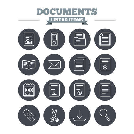 paper clip: Documents linear icons set. Accounting, book and calendar symbols. Paper clip, scissors and download arrow thin outline signs. Mail envelope and file chart. Flat circle vector