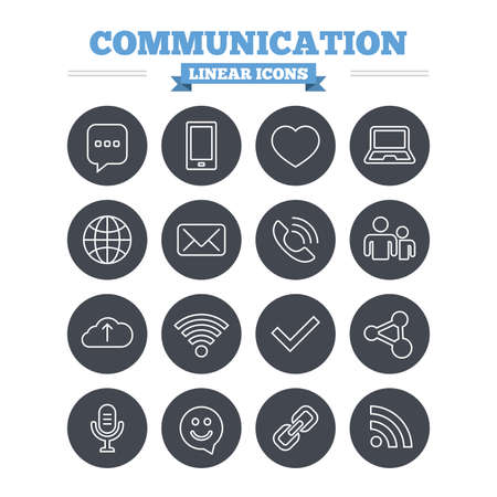 dating icons: Communication linear icons set. Smartphone, laptop and speech bubble symbols. Wi-fi and Rss. Online love dating, mail and globe thin outline signs. Flat circle vector
