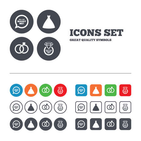 web engagement: Wedding dress icon. Bride and groom rings symbol. Wedding or engagement day ring with diamond sign. Will you marry me speech bubble. Web buttons set. Circles and squares templates. Vector Illustration