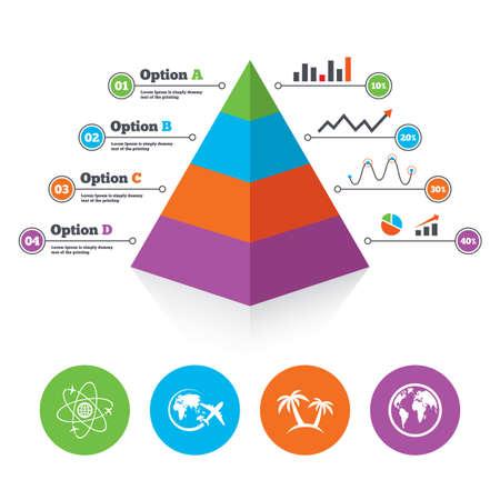 airplane world: Pyramid chart template. Travel trip icon. Airplane, world globe symbols. Palm tree sign. Travel round the world. Infographic progress diagram. Vector