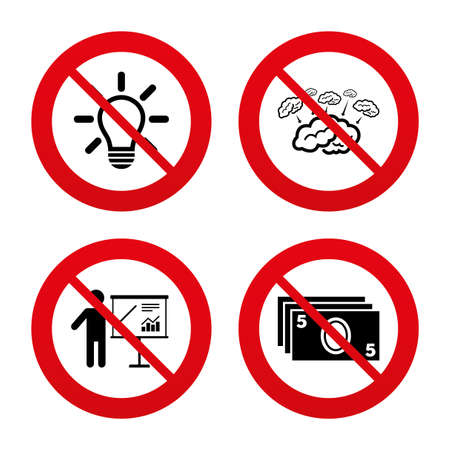 standing lamp: No, Ban or Stop signs. Presentation billboard, brainstorm icons. Cash money and lamp idea signs. Man standing with pointer. Scheme and Diagram symbol. Prohibition forbidden red symbols. Vector
