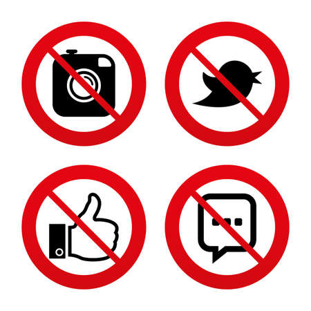 chat up: No, Ban or Stop signs. Hipster photo camera icon. Like and Chat speech bubble sign. Hand thumb up. Bird symbol. Prohibition forbidden red symbols. Vector