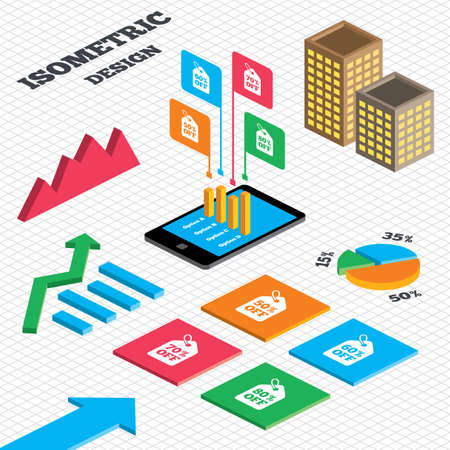 60 70: Isometric design. Graph and pie chart. Sale price tag icons. Discount special offer symbols. 50%, 60%, 70% and 80% percent off signs. Tall city buildings with windows. Vector