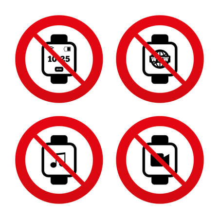 watch video: No, Ban or Stop signs. Smart watch icons. Wrist digital time watch symbols. Music, Video, Globe internet and wi-fi signs. Prohibition forbidden red symbols. Vector Illustration