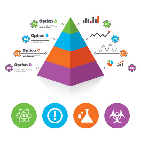 poison arrow: Pyramid chart template. Attention and biohazard icons. Chemistry flask sign. Atom symbol. Infographic progress diagram. Vector