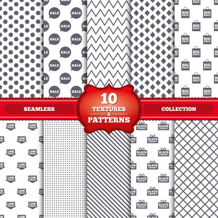 low price: Repeatable patterns and textures. Sale speech bubble icon. Black friday gift box symbol. Big sale shopping bag. Low price arrow sign. Gray dots, circles, lines on white background. Vector