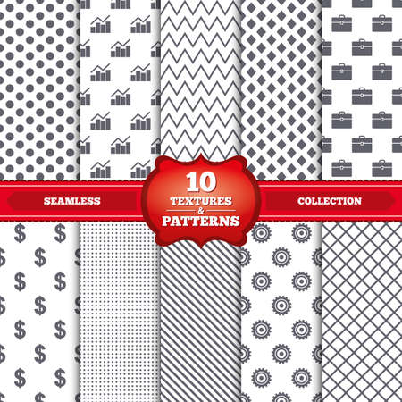 Repeatable patterns and textures. Business icons. Graph chart and case signs. Dollar currency and gear cogwheel symbols. Gray dots, circles, lines on white background. Vector Vector