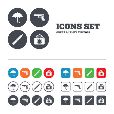 edged: Gun weapon icon.Knife, umbrella and photo camera with flash signs. Edged hunting equipment. Prohibition objects. Web buttons set. Circles and squares templates. Vector