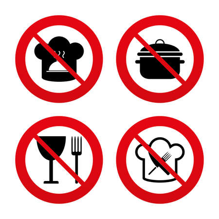 boil: No, Ban or Stop signs. Chief hat and cooking pan icons. Crosswise fork and knife signs. Boil or stew food symbols. Prohibition forbidden red symbols. Vector