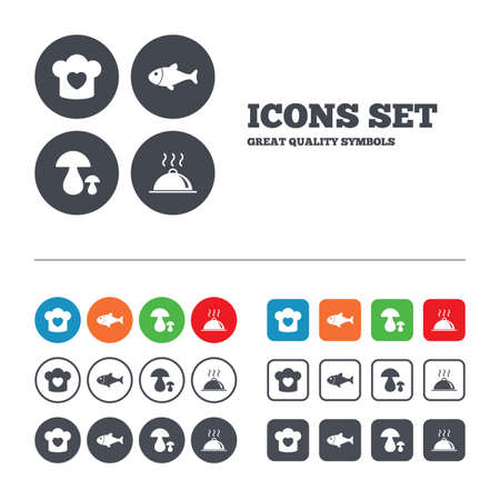 boletus: Chief hat with heart and cooking pan icons. Fish and boletus mushrooms signs. Hot food platter serving symbol. Web buttons set. Circles and squares templates. Vector