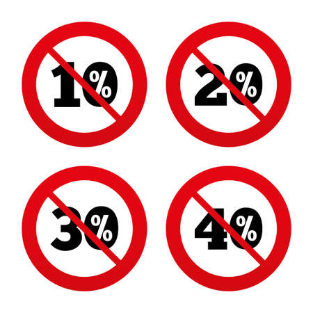 No, Ban or Stop signs. Sale discount icons. Special offer price signs. 10, 20, 30 and 40 percent off reduction symbols. Prohibition forbidden red symbols. Vector Çizim