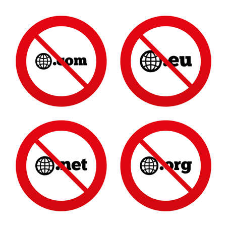 dns: No, Ban or Stop signs. Top-level internet domain icons. Com, Eu, Net and Org symbols with globe. Unique DNS names. Prohibition forbidden red symbols. Vector