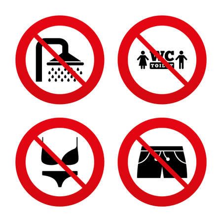 women in underwear: No, Ban or Stop signs. Swimming pool icons. Shower water drops and swimwear symbols. WC Toilet sign. Trunks and women underwear. Prohibition forbidden red symbols. Vector Illustration