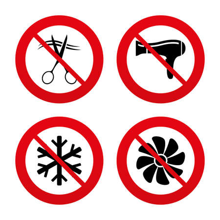 blow drying: No, Ban or Stop signs. Hotel services icons. Air conditioning, Hairdryer and Ventilation in room signs. Climate control. Hairdresser or barbershop symbol. Prohibition forbidden red symbols. Vector