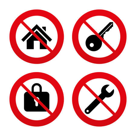 no label: No, Ban or Stop signs. Home key icon. Wrench service tool symbol. Locker sign. Main page web navigation. Prohibition forbidden red symbols. Vector