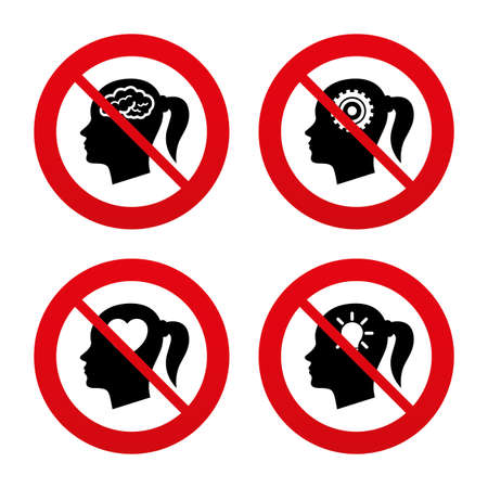 forbidden love: No, Ban or Stop signs. Head with brain and idea lamp bulb icons. Female woman think symbols. Cogwheel gears signs. Love heart. Prohibition forbidden red symbols. Vector Illustration