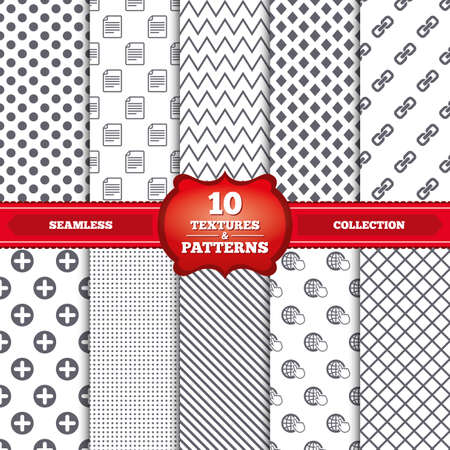 hyperlink: Repeatable patterns and textures. Plus add circle and hyperlink chain icons. Document file and globe with hand pointer sign symbols. Gray dots, circles, lines on white background. Vector