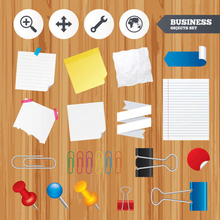 paper sheets: Paper sheets. Office business stickers, pin, clip. Magnifier glass and globe search icons. Fullscreen arrows and wrench key repair sign symbols. Squared, lined pages. Vector