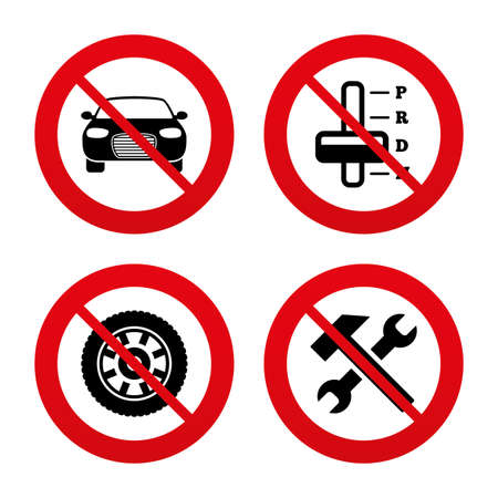 No, Ban or Stop signs. Transport icons. Car tachometer and automatic transmission symbols. Repair service tool with wheel sign. Prohibition forbidden red symbols. Vector Vector