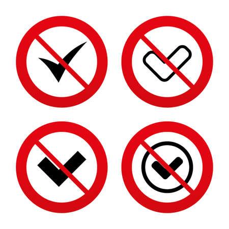 checkbox: No, Ban or Stop signs. Check icons. Checkbox confirm circle sign symbols. Prohibition forbidden red symbols. Vector