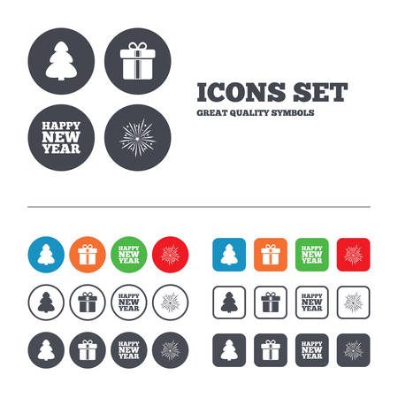xmas tree: Happy new year icon. Christmas tree and gift box signs. Fireworks explosive symbol. Web buttons set. Circles and squares templates. Vector Illustration