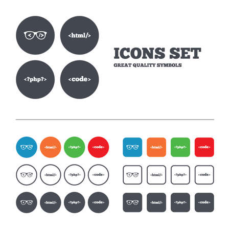 coder: Programmer coder glasses icon. HTML markup language and PHP programming language sign symbols. Web buttons set. Circles and squares templates. Vector
