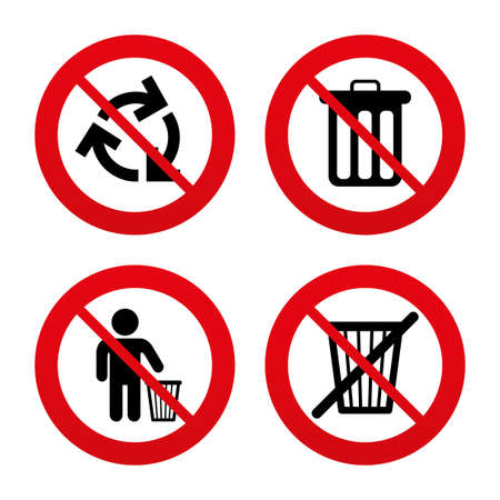 no: No, Ban or Stop signs. Recycle bin icons. Reuse or reduce symbols. Human throw in trash can. Recycling signs. Prohibition forbidden red symbols. Vector Illustration