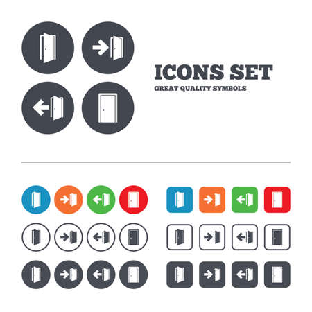 arrow emergency exit: Doors icons. Emergency exit with arrow symbols. Fire exit signs. Web buttons set. Circles and squares templates. Vector