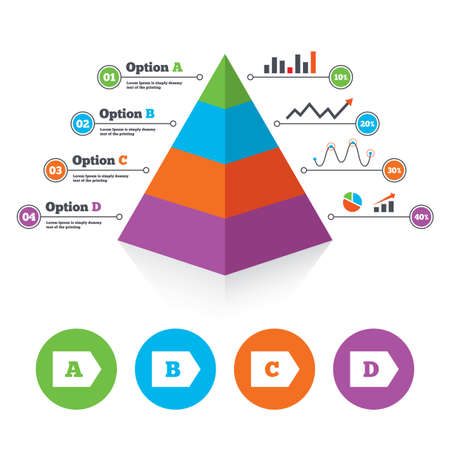 energy consumption: Pyramid chart template. Energy efficiency class icons. Energy consumption sign symbols. Class A, B, C and D. Infographic progress diagram. Vector Illustration