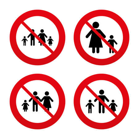 family with two children: No, Ban or Stop signs. Family with two children icon. Parents and kids symbols. One-parent family signs. Mother and father divorce. Prohibition forbidden red symbols. Vector Illustration