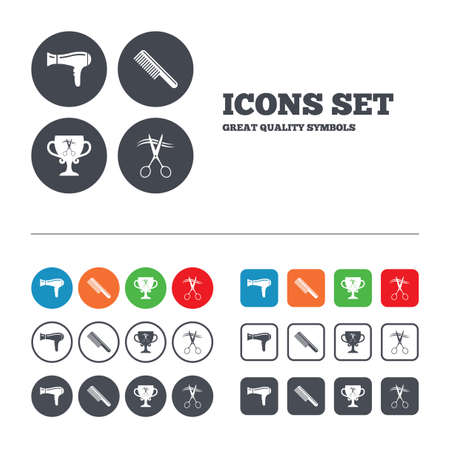 blow drying: Hairdresser icons. Scissors cut hair symbol. Comb hair with hairdryer symbol. Barbershop winner award cup. Web buttons set. Circles and squares templates. Vector