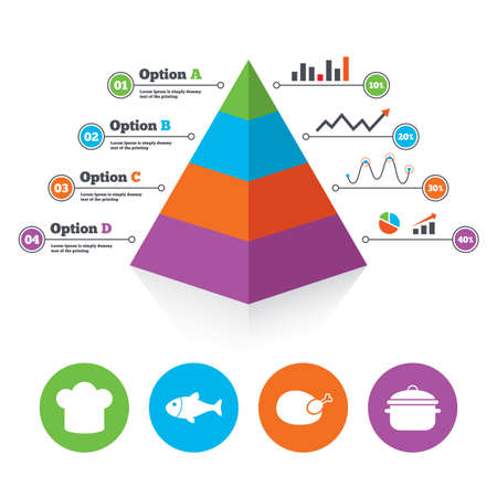 stew: Pyramid chart template. Chief hat and cooking pan icons. Fish and chicken signs. Boil or stew food symbol. Infographic progress diagram. Vector