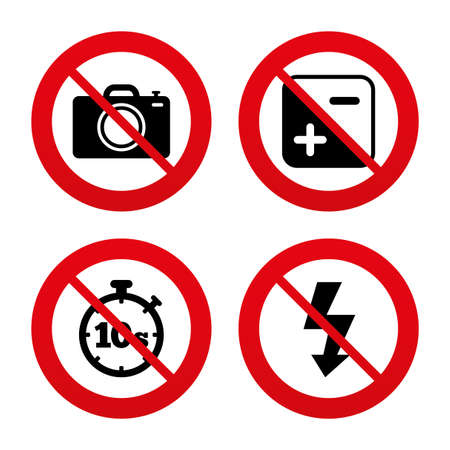 seconds: No, Ban or Stop signs. Photo camera icon. Flash light and exposure symbols. Stopwatch timer 10 seconds sign. Prohibition forbidden red symbols. Vector