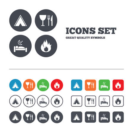 breakfast in bed: Food, sleep, camping tent and fire icons. Knife, fork and wineglass. Hotel or bed and breakfast. Road signs. Web buttons set. Circles and squares templates. Vector