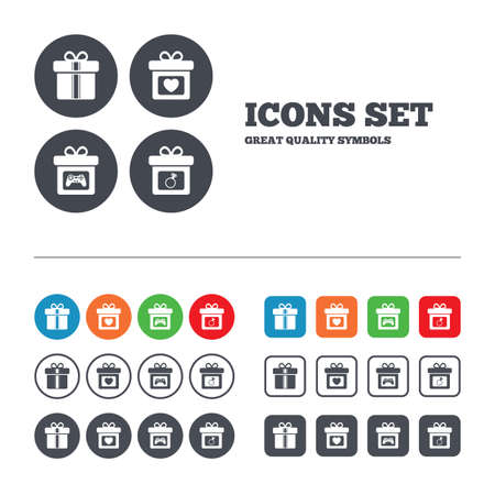 web engagement: Gift box sign icons. Present with bow and ribbons symbols. Engagement ring sign. Video game joystick. Web buttons set. Circles and squares templates. Vector