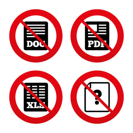 xls: No, Ban or Stop signs. File document and question icons. XLS, PDF and DOC file symbols. Download or save doc signs. Prohibition forbidden red symbols. Vector Illustration