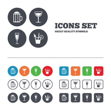 fruit drink: Alcoholic drinks icons. Champagne sparkling wine and beer symbols. Wine glass and cocktail signs. Web buttons set. Circles and squares templates. Vector Illustration