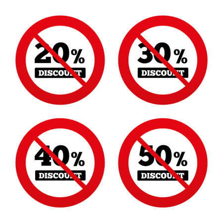 30 to 40: No, Ban or Stop signs. Sale discount icons. Special offer price signs. 20, 30, 40 and 50 percent off reduction symbols. Prohibition forbidden red symbols. Vector Illustration
