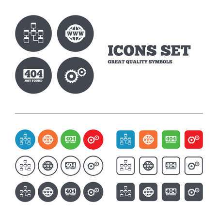 page not found: Website database icon. Internet globe and gear signs. 404 page not found symbol. Under construction. Web buttons set. Circles and squares templates. Vector Illustration