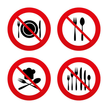 knifes: No, Ban or Stop signs. Plate dish with forks and knifes icons. Chief hat sign. Crosswise cutlery symbol. Dessert fork. Prohibition forbidden red symbols. Vector