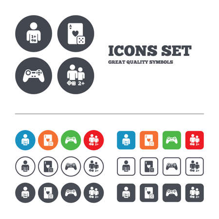video icons: Gamer icons. Board games players signs. Video game joystick symbol. Casino playing card. Web buttons set. Circles and squares templates. Vector