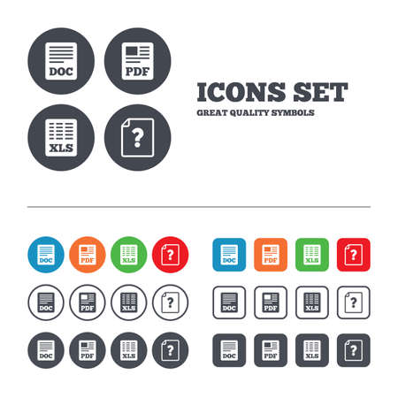 xls: File document and question icons. XLS, PDF and DOC file symbols. Download or save doc signs. Web buttons set. Circles and squares templates. Vector Illustration