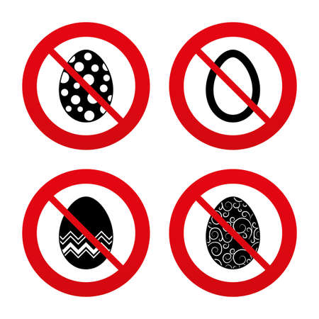 pasch: No, Ban or Stop signs. Easter eggs icons. Circles and floral patterns symbols. Tradition Pasch signs. Prohibition forbidden red symbols. Vector