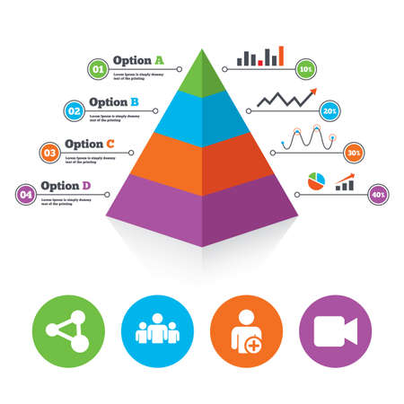 Pyramid chart template. Group of people and share icons. Add user and video camera symbols. Communication signs. Infographic progress diagram. Vector Vector