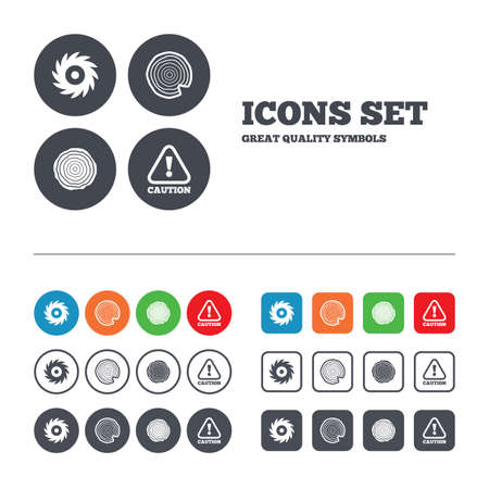 warning saw: Wood and saw circular wheel icons. Attention caution symbol. Sawmill or woodworking factory signs. Web buttons set. Circles and squares templates. Vector Illustration