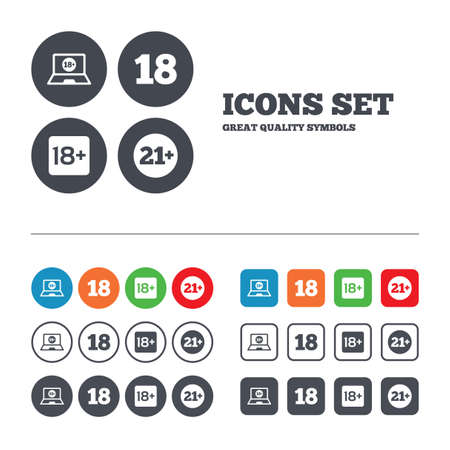 pornography: Adult content icons. Eighteen and twenty-one plus years sign symbols. Notebook website notice. Web buttons set. Circles and squares templates. Vector